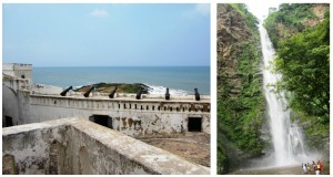 Cape Coast Castle (left), Wli Waterfalls (right). Images taken by Valentino K.